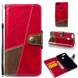 Retro Magnetic Stitching Wallet Flip Cover for Huawei Honor 9 Lite - Rose Red