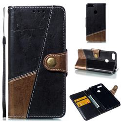 Retro Magnetic Stitching Wallet Flip Cover for Huawei Honor 9 Lite - Dark Gray