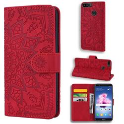 Retro Embossing Mandala Flower Leather Wallet Case for Huawei Honor 9 Lite - Red
