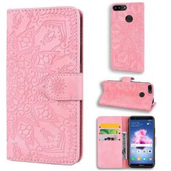 Retro Embossing Mandala Flower Leather Wallet Case for Huawei Honor 9 Lite - Pink