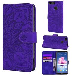 Retro Embossing Mandala Flower Leather Wallet Case for Huawei Honor 9 Lite - Purple