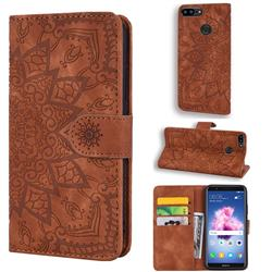 Retro Embossing Mandala Flower Leather Wallet Case for Huawei Honor 9 Lite - Brown