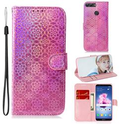 Laser Circle Shining Leather Wallet Phone Case for Huawei Honor 9 Lite - Pink