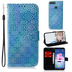Laser Circle Shining Leather Wallet Phone Case for Huawei Honor 9 Lite - Blue