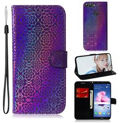 Laser Circle Shining Leather Wallet Phone Case for Huawei Honor 9 Lite - Purple