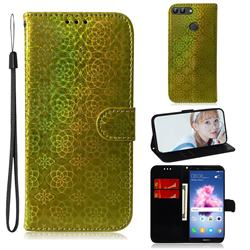 Laser Circle Shining Leather Wallet Phone Case for Huawei Honor 9 Lite - Golden