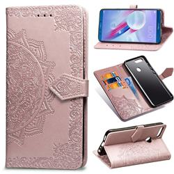 Embossing Imprint Mandala Flower Leather Wallet Case for Huawei Honor 9 Lite - Rose Gold