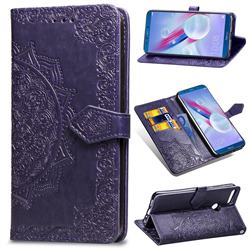 Embossing Imprint Mandala Flower Leather Wallet Case for Huawei Honor 9 Lite - Purple