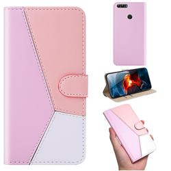 Tricolour Stitching Wallet Flip Cover for Huawei Honor 9 Lite - Pink