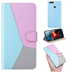Tricolour Stitching Wallet Flip Cover for Huawei Honor 9 Lite - Blue