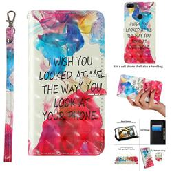 Look at Phone 3D Painted Leather Wallet Case for Huawei Honor 9 Lite