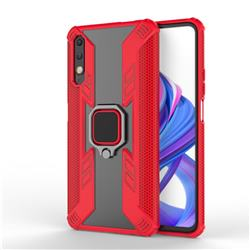 Predator Armor Metal Ring Grip Shockproof Dual Layer Rugged Hard Cover for Huawei Honor 9X - Red