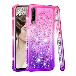 Diamond Frame Liquid Glitter Quicksand Sequins Phone Case for Huawei Honor 9X - Pink Purple