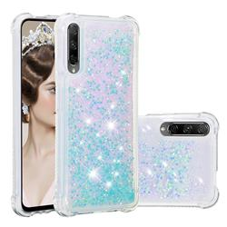 Dynamic Liquid Glitter Sand Quicksand TPU Case for Huawei Honor 9X - Silver Blue Star