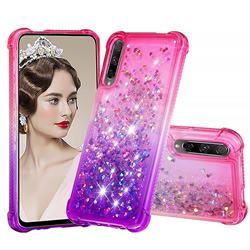 Rainbow Gradient Liquid Glitter Quicksand Sequins Phone Case for Huawei Honor 9X - Pink Purple