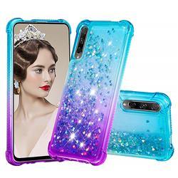 Rainbow Gradient Liquid Glitter Quicksand Sequins Phone Case for Huawei Honor 9X - Blue Purple