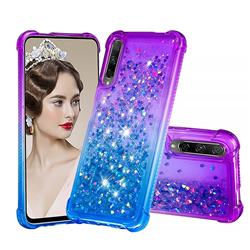 Rainbow Gradient Liquid Glitter Quicksand Sequins Phone Case for Huawei Honor 9X - Purple Blue