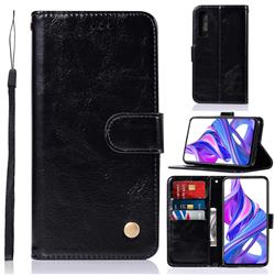 Luxury Retro Leather Wallet Case for Huawei Honor 9X - Black