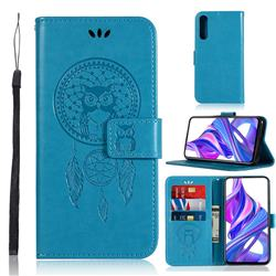 Intricate Embossing Owl Campanula Leather Wallet Case for Huawei Honor 9X - Blue