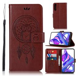 Intricate Embossing Owl Campanula Leather Wallet Case for Huawei Honor 9X - Brown