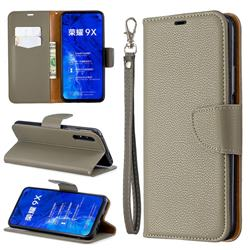 Classic Luxury Litchi Leather Phone Wallet Case for Huawei Honor 9X - Gray