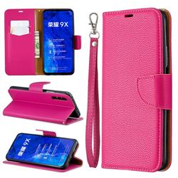Classic Luxury Litchi Leather Phone Wallet Case for Huawei Honor 9X - Rose