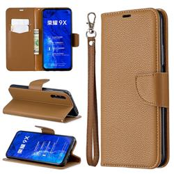 Classic Luxury Litchi Leather Phone Wallet Case for Huawei Honor 9X - Brown