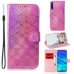 Laser Circle Shining Leather Wallet Phone Case for Huawei Honor 9X - Pink