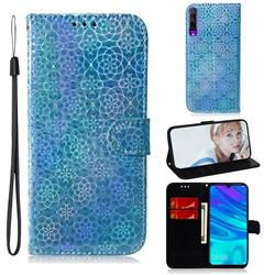 Laser Circle Shining Leather Wallet Phone Case for Huawei Honor 9X - Blue
