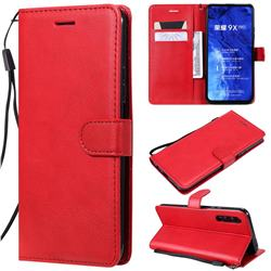 Retro Greek Classic Smooth PU Leather Wallet Phone Case for Huawei Honor 9X - Red