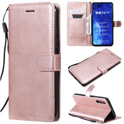 Retro Greek Classic Smooth PU Leather Wallet Phone Case for Huawei Honor 9X - Rose Gold
