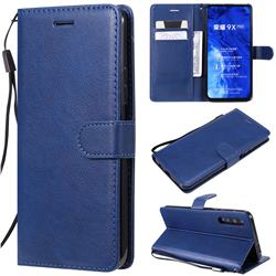 Retro Greek Classic Smooth PU Leather Wallet Phone Case for Huawei Honor 9X - Blue