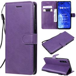Retro Greek Classic Smooth PU Leather Wallet Phone Case for Huawei Honor 9X - Purple