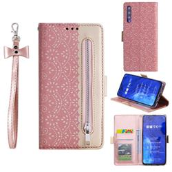 Luxury Lace Zipper Stitching Leather Phone Wallet Case for Huawei Honor 9X - Pink