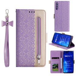 Luxury Lace Zipper Stitching Leather Phone Wallet Case for Huawei Honor 9X - Purple