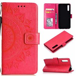 Intricate Embossing Datura Leather Wallet Case for Huawei Honor 9X - Rose Red