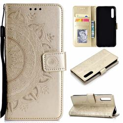 Intricate Embossing Datura Leather Wallet Case for Huawei Honor 9X - Golden