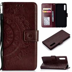 Intricate Embossing Datura Leather Wallet Case for Huawei Honor 9X - Brown