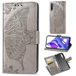 Embossing Mandala Flower Butterfly Leather Wallet Case for Huawei Honor 9X - Gray