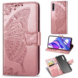 Embossing Mandala Flower Butterfly Leather Wallet Case for Huawei Honor 9X - Rose Gold
