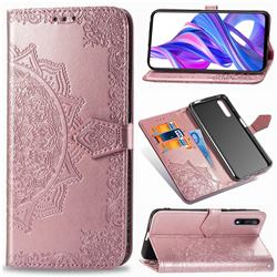 Embossing Imprint Mandala Flower Leather Wallet Case for Huawei Honor 9X - Rose Gold