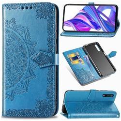 Embossing Imprint Mandala Flower Leather Wallet Case for Huawei Honor 9X - Blue