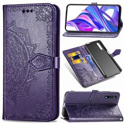 Embossing Imprint Mandala Flower Leather Wallet Case for Huawei Honor 9X - Purple
