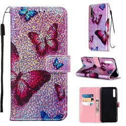 Blue Butterfly Sequins Painted Leather Wallet Case for Huawei Honor 9X