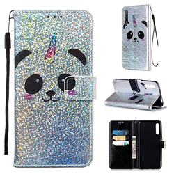 Panda Unicorn Sequins Painted Leather Wallet Case for Huawei Honor 9X