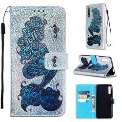Mermaid Seahorse Sequins Painted Leather Wallet Case for Huawei Honor 9X
