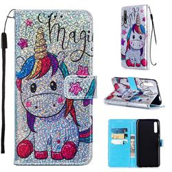 Star Unicorn Sequins Painted Leather Wallet Case for Huawei Honor 9X