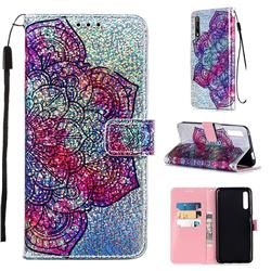 Glutinous Flower Sequins Painted Leather Wallet Case for Huawei Honor 9X