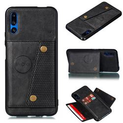 Retro Multifunction Card Slots Stand Leather Coated Phone Back Cover for Huawei Honor 9X - Black