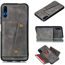 Retro Multifunction Card Slots Stand Leather Coated Phone Back Cover for Huawei Honor 9X - Gray